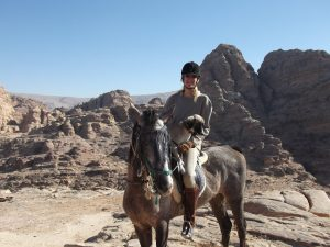 Brenda with Arabian horse Samiha and Saluki Warda