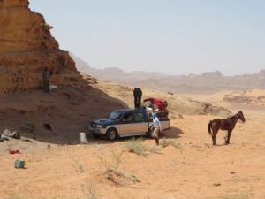 On the road, Wadi Rum on horseback