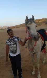 Meeting Bader, a pure Arabian horse and Majd before the Endurance, Wadi Rum