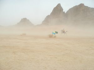 Endurance in the sandstorm, Wadi Rum, Jordan