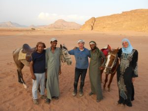 The whole crew, horse riding at Wadi Rum