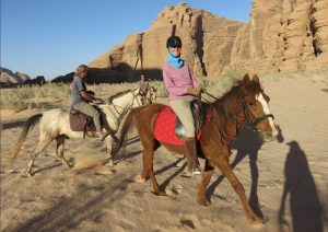 Horse riding in Wadi Rum, with Abdullah and Brenda